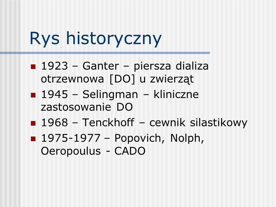 Rys historyczny 1923 – Ganter – piersza dializa otrzewnowa [DO] u zwierząt. 1945 – Selingman – kliniczne zastosowanie DO.